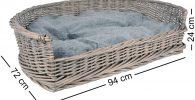 Sofa Cama de mimbre con cojin para perros 94x72x24cm