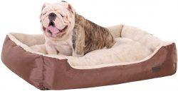 Cama suave y colchada con cojin reversible de coral para bulldog ingles 85 x 65 x 21