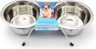 Comedero y Bebedero Acero Inoxidable para bulldog ingles con soporte