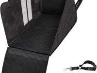 Funda acolchada cubre asientos para perro con cinturon de seguridad y bebedero plegable