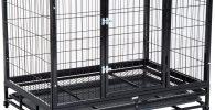 Jaula de Metal con Ruedas y Bandeja Extraible Perro Grande 92x62x75cm