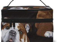 Bolsa estuche de maquillaje y cosmeticos de bulldog ingles