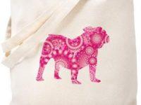 Bolso de lona beige con silueta bulldog ingles rosa