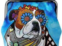 Monedero de bulldog ingles de cuero