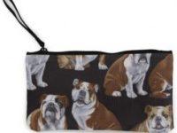 Monedero de lona con perro bulldog ingles
