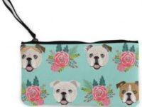 monedero bulldog ingles con estampado floral