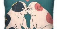 4 Fundas de cojin de 45 x 45 cm con pareja de bulldogs