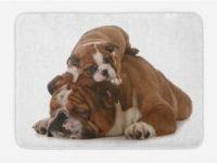 Alfombra de bano con imagen bulldog y su cachorro