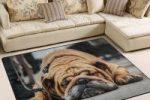 Alfombra de tela para salon o Dormitorio con diseño de Bulldog ingles 203cm x147.cm