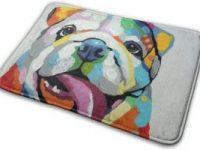 Alfombrilla de bano con bulldog ingles multicolor