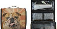 Bolsa de aseo colgante de bulldog con bandera Reino Unido