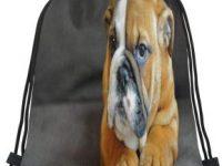 Bolsa de gimnasio con cordones y cachorro de bulldog ingles