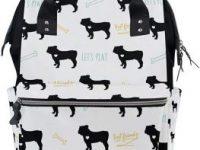 Bolsa mochila multifuncion para panales de bebe y lactancia con diseno bulldogs