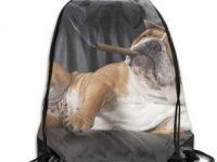 Bolso mochila con cordones gimnasio con bulldog ingles