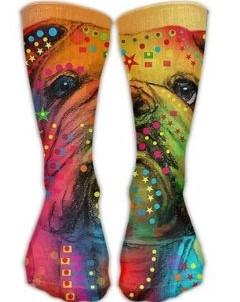 Calcetines largos de poliéster unisex con bulldog inglés de colores