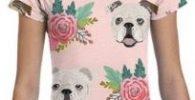 Camiseta bulldog ingles manga corta rosa para chica