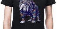 Camiseta bulldog ingles negra manga para chica