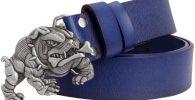 Cinturon bulldog ingles cuero azul