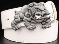 Cinturon bulldog ingles cuero blanco
