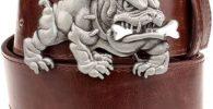 Cinturon bulldog ingles cuero marron hebilla bulldog