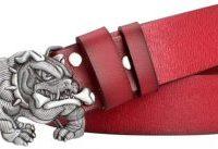 Cinturon bulldog ingles cuero rojo