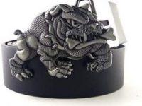 Cinturon de cuero con hebilla metalica de bulldog ingles para hombre
