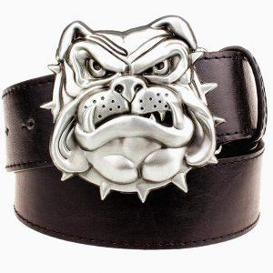 Cinturon hebilla bulldog ingles cuero negro