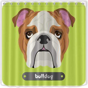 Cortina de Ducha bulldog ingles 180X180cm CORTINA DE BANO BULLDOG INGLES ENGLISH BULLDOG CURTAIN