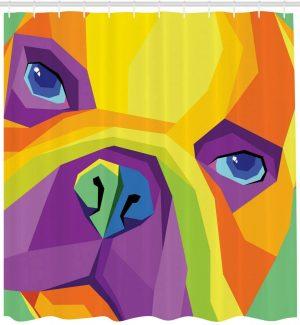 Cortina de Ducha bulldog ingles abstracto 182 x182 cm