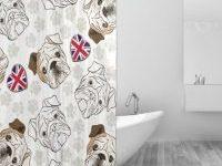 Cortina de bano bulldog ingles poliester antimoho