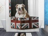 Cortina de ducha bulldog ingles en caja britanica
