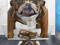 Cortina de ducha bulldog ingles aviador