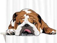 Cortina de ducha bulldog ingles tumbado
