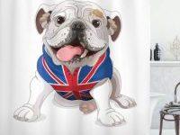 Cortina de ducha bulldog ingles con bandera britanica