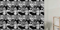 Cortina de ducha bulldog ingles con patron blanco y negro