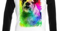 Camiseta bulldog ingles multicolor manga larga unisex