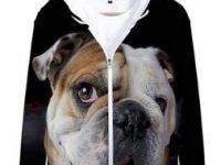 Sudadera bulldog ingles con capucha y cremallera
