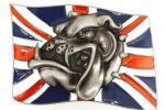 Hebilla bulldog ingles para cinturon con bandera Inglaterra UK english bulldog belt trucker England flag