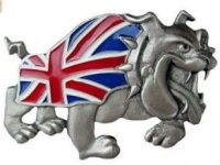 Hebilla bulldog ingles para cinturon con bandera Gran Bretana English bulldog belt trucker UK flag