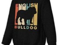 Sudadera negra bulldog ingles vintage style sin capucha para chicas