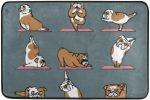 Felpudo de Bulldog ingles haciendo yoga 80x45cm