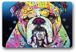 Felpudo de Bulldog ingles para casa de colores 60x40