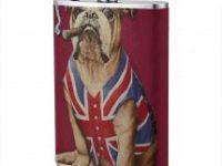 Frasco de acero para licor con english bulldog UK