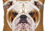 Funda de cojin Decorativa con poligonos de Bulldog ingles