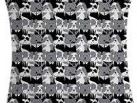 Funda de cojin con diseño de Bulldog ingles blanco y negro 45x45
