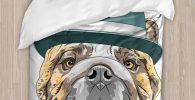 Funda nordica bulldog ingles con sombrero
