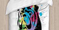 Funda nordica bulldog ingles retrato multicolor