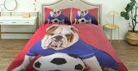 Funda nordica mas 2 Fundas de Almohada con Bulldog Ingles futbolista 140 x 200 cm