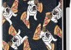 Funda para iPhone XR con Cartera de Cuero de Bulldog comiendo Pizza