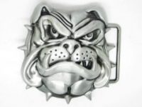 Hebilla de metal para cinturon con Bulldog Ingles